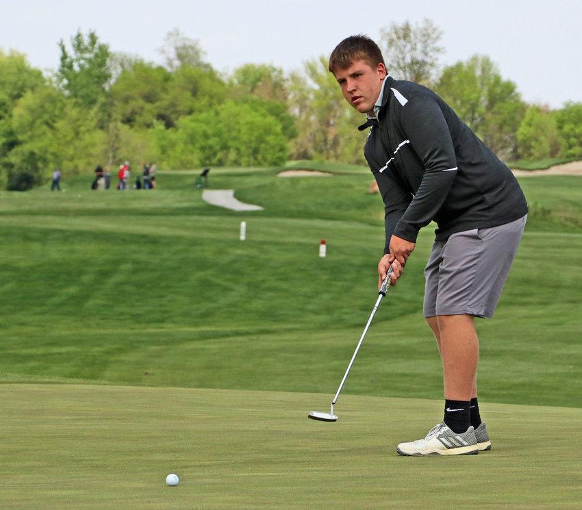 Blair's Cole Truhlsen putts Monday at River Wilds Golf Club.