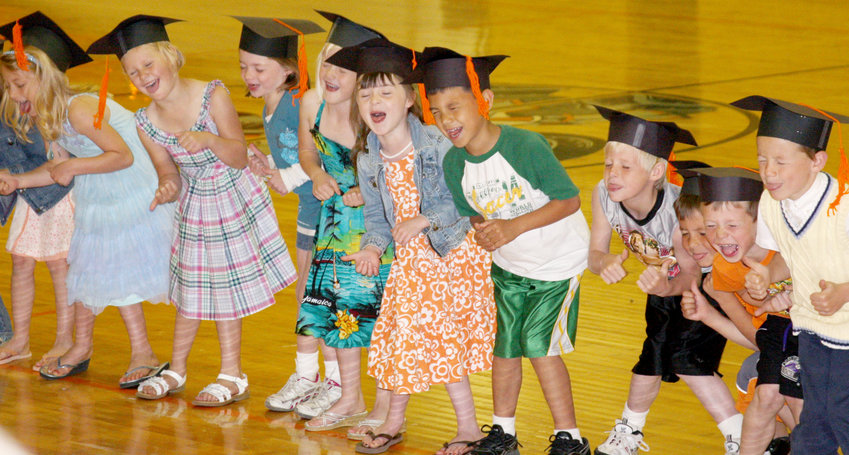 Too cute for their own good, the Oakland-Craig Class of 2021 were little hams at their kindergarten graduation.  Pictured are: Josie Richards, Alexis Guill*, Lillie Marinello*, Karah Johnson, Jaron Meyer, Coulter Thiele, Zachary Mallette*, Michael Kienzler*, and Jack Pille. *indicates students no longer a part of the class.