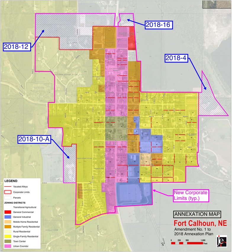 The amended 2018 annexation plan as presented to the Fort Calhoun City Council at its monthly meeting April 19 and May 17. Three of the parcels were approved to be sent for approval by the Fort Calhoun Planning Commission. The lot labeled 2018-10-A was denied by the council after Mayor Mitch Robinson broke the tie.