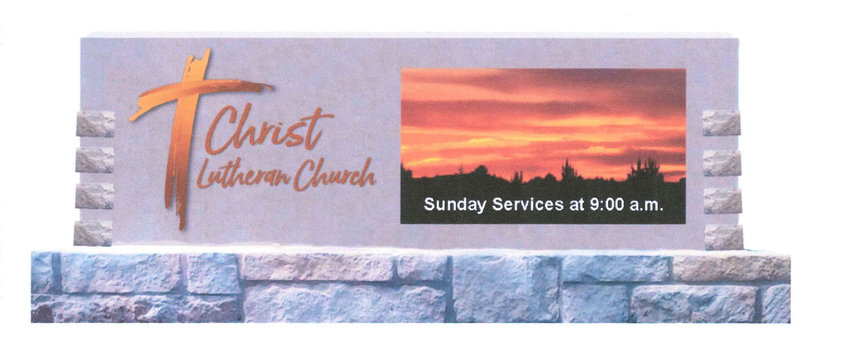 This rendering shows what the main sign for Christ Lutheran Church would like.