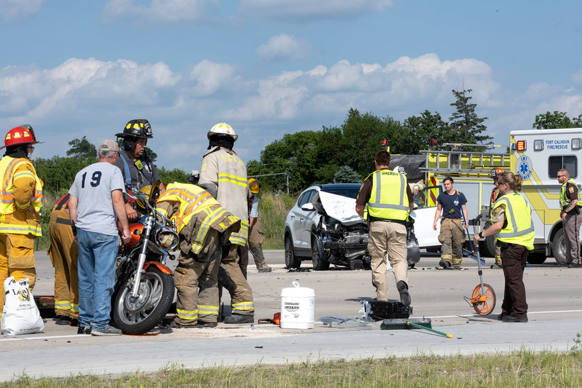 Three people were injured in a car and motorcycle collision Wednesday at state U.S. Highway 133 and County Road P38..