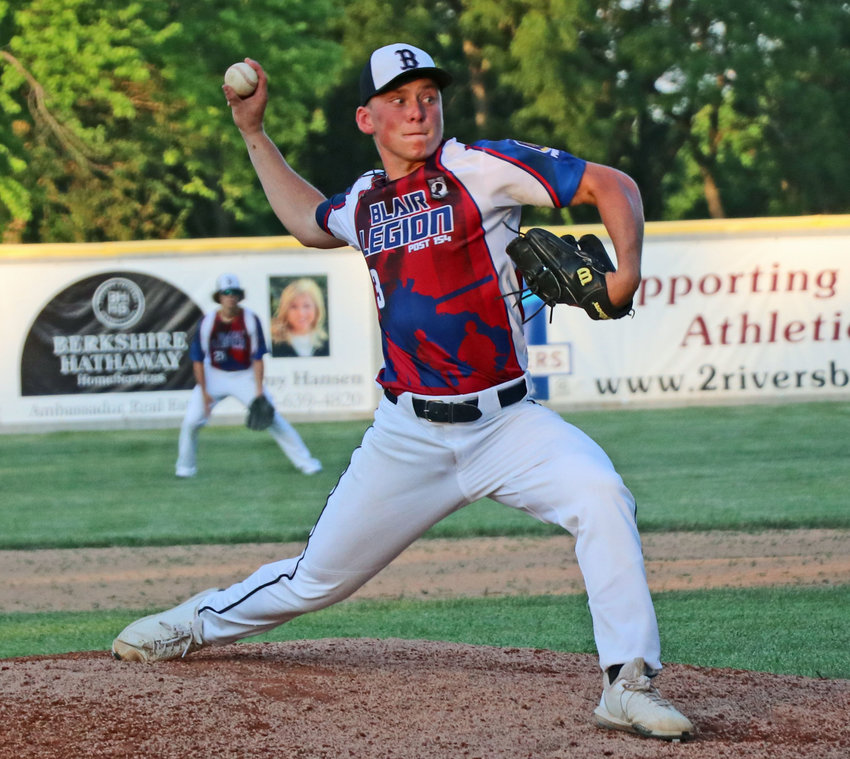 Blair Senior Legion right-hander Tyler Andersen pitches last Wednesday at Vets Field. The Post 154 Bears spent their weekend in Yankton, S.D. for a wood bat tourney.