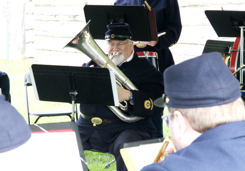 Bill Hall of Blair performs with the 1st Nebraska Volunteers Brass Band during a previous Washington County Heritage Days at Fort Atkinson in Fort Calhoun.
