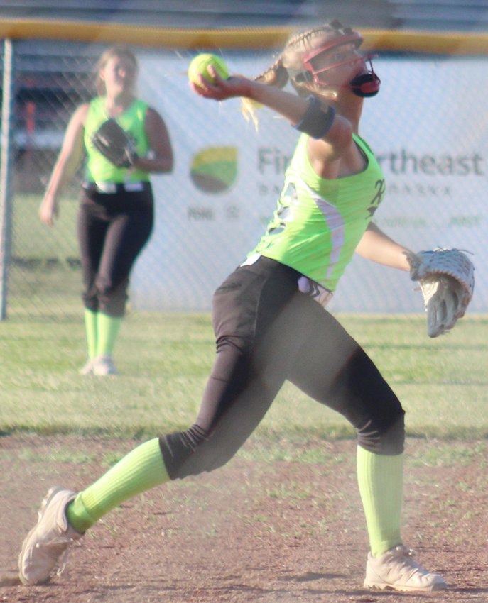 Hannah Landholm makes the throw from shortstop to first base during the Logan View game.