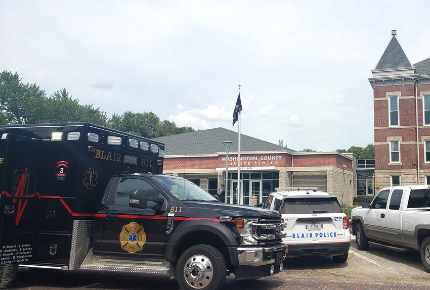 Blair Rescue responded to the Washington County Sheriff's Office for a potential hazmat situation Wednesday after a woman brought an envelope with white powder in it into the building.