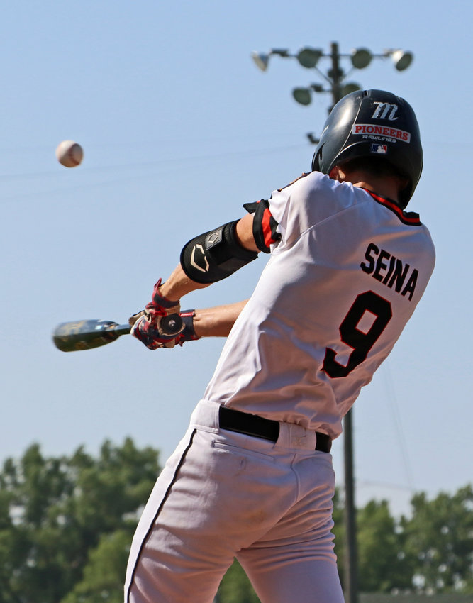 Fort Calhoun Senior Legion batter Jake Seina hits a double Friday during the first inning in West Point.