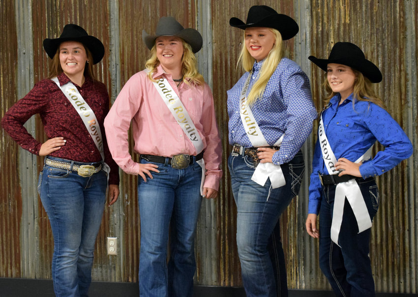 Contestants for rodeo queen pose for photos, including Megan Olson of Tekamah, from left, Cassidy Arp of Kennard, Chloe Suhr of Papillion and Alaina Schwedhelm of Arlington.