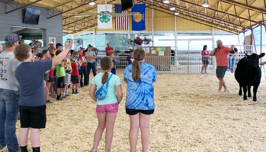 Tyler Hartwell gave this large group of 4-H and FFA members a lot of great information to help them become better showmen and beef producers. The Beef Clinic was held Monday afternoon, July 19th during the Burt County Fair.