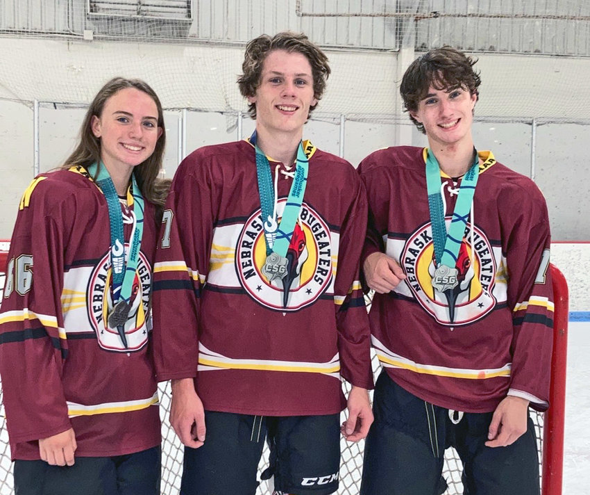 Carly, left, and Tanner Horacek, right, of Blair won Cornhusker State Games medals alongside their cousin, Cody Hiatt of Louisville.