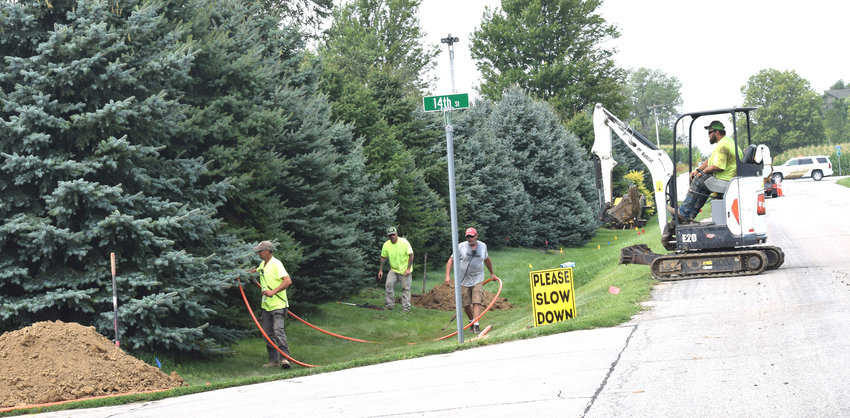 A gas line was struck around 14th and Bell Streets in Arlington Friday.
