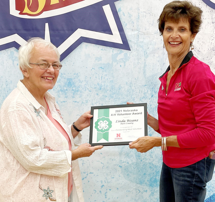 Burt County's Linda Bisanz received an Outstanding Volunteer Award from the Nebraska State 4-H at the State Fair.