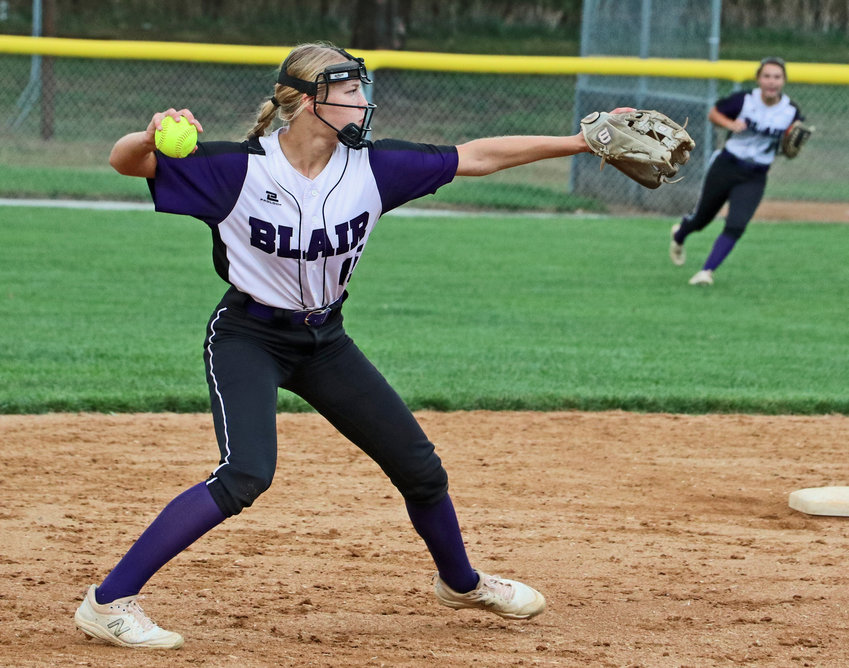 Bears shortstop Nessa McMillen fires a throw to first base Thursday against Bennington at the Blair Youth Sports Complex.