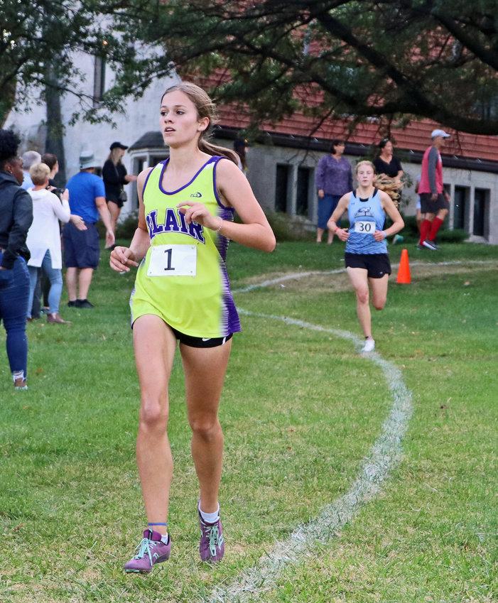 Blair Bear Hailey Amandus runs downhill Thursday during the Boys Town Invitational.