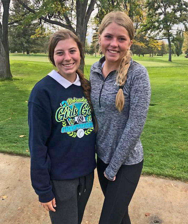 Blair golfers Anna Moore, left, and Mallory Stirek competed Monday and Tuesday at the NSAA Class B State Golf Championships in Scottsbluff.
