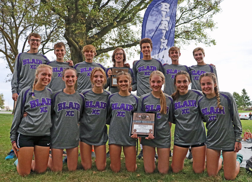 The Blair cross-country teams qualified for the Class B State Meet during district competition Thursday at Elkhorn Mount Michael. Team members are, front row, from left, Emily Lamoureux, Kaitlynn Amandus, Cayli Penner, Hailey Amandus, Chloe Schrick, Sophia Baedke and Allie Czapla. Back row: Nick Wayman, Dawson Fricke, Zyler Wyman, Zac Keeling, Nolan Slominski, Calin O'Grady and Ted Lueders.