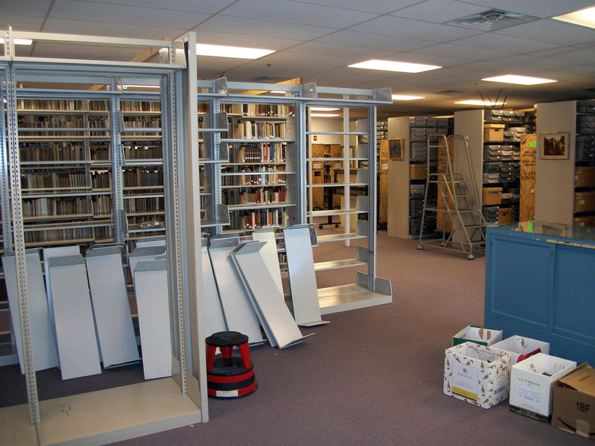 The Danish American Archive and Library is making progress tearing down its old storage units to make room for movable shelving to hold its books and documents.