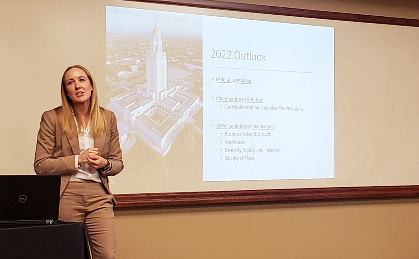 Kristen Hassebrook, executive vice president of legislation and policy for the Nebraska Chamber of Commerce, speaks at a legislative luncheon Thursday at Memorial Community Hospital and Health System.