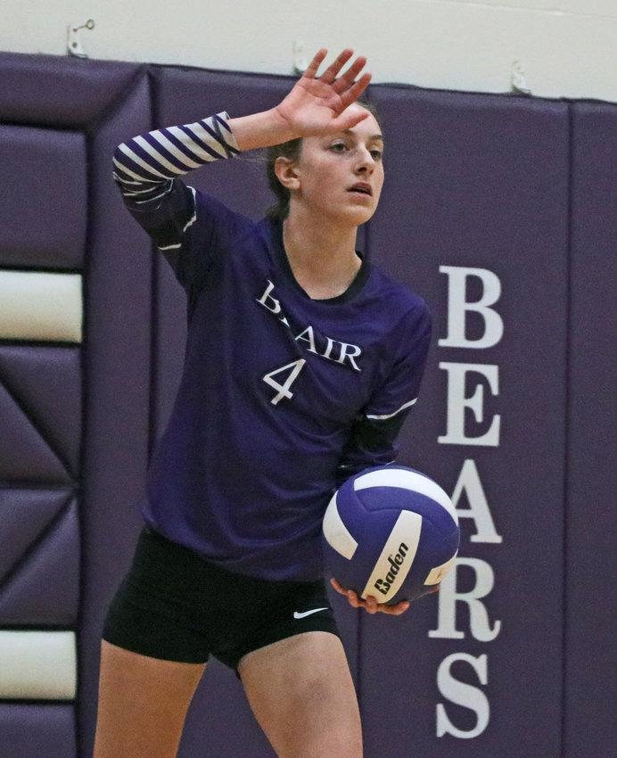 The Bears' Reece Ewoldt serves Tuesday at Blair High School.