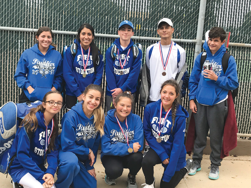 The Panther JV tennis team smiles after traveling to Midland and competing in the Midland Christian Fall JV Tournament
