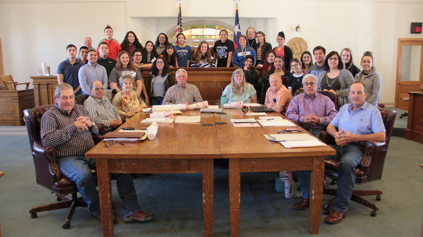 Fort Stockton seniors from Midland College-WRTTC took their yearly field trip to sit in on Monday's Pecos County Commissioner's Court meeting. Instructor Janet Groth said that her Texas government class was studying a chapter on local governments and wanted to hear from commissioners about their jobs and the area they represented. In addition to listening to the hour-long meeting and taking notes, students learned that Pecos County is the state's second largest county in area, that the court manages 526 miles of county roads, and County Judge Joe Shuster made sure they knew that the county had zero debt and a $13 million fund balance under his leadership.