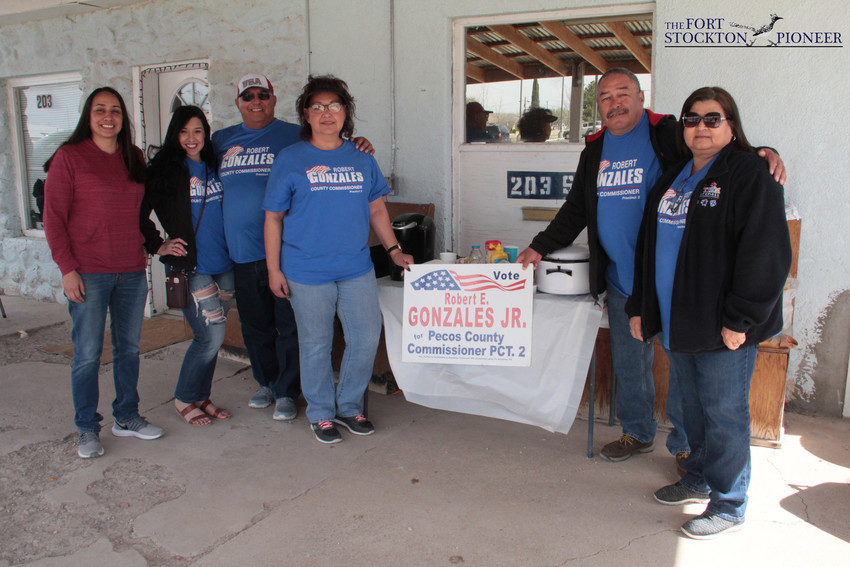 It was a jovial affair Tuesday afternoon as all three Democratic candidates for county commissioner politicked outside the polls of the Pecos County Courthouse Annex. Turnout was lighter than other areas of the state but that didn't stop the enthusiasm of the voters who got to meet the candidates up-close.