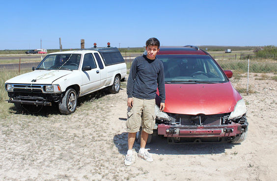 Yony Rolando Recinos Saballa found himself stranded on the I-10 service road and turned to local residents Bob Beal and Iselda Acosta for help.
