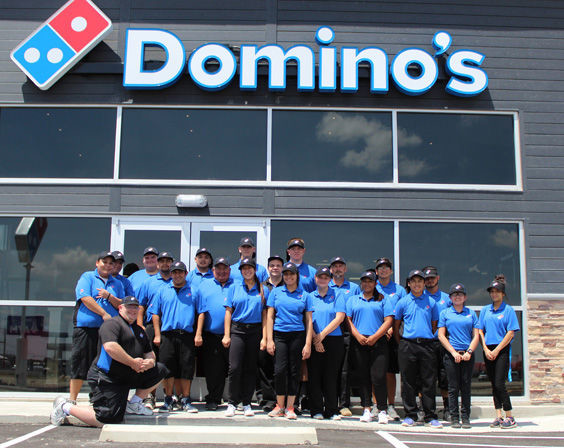 """The employees of Domino's Pizza are happy to introduce themselves and say, """"It's slice to meet you!"""""""
