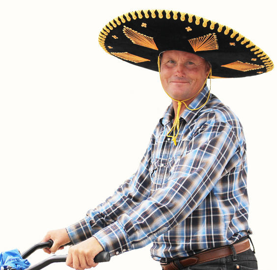 ¡Ándale, ándale! ¡Arriba, arriba! Resident Josh Wilson is now riding his bike around Fort Stockton wearing a large felt sombrero. His last name is not Gonzales, but he sure is speedy.