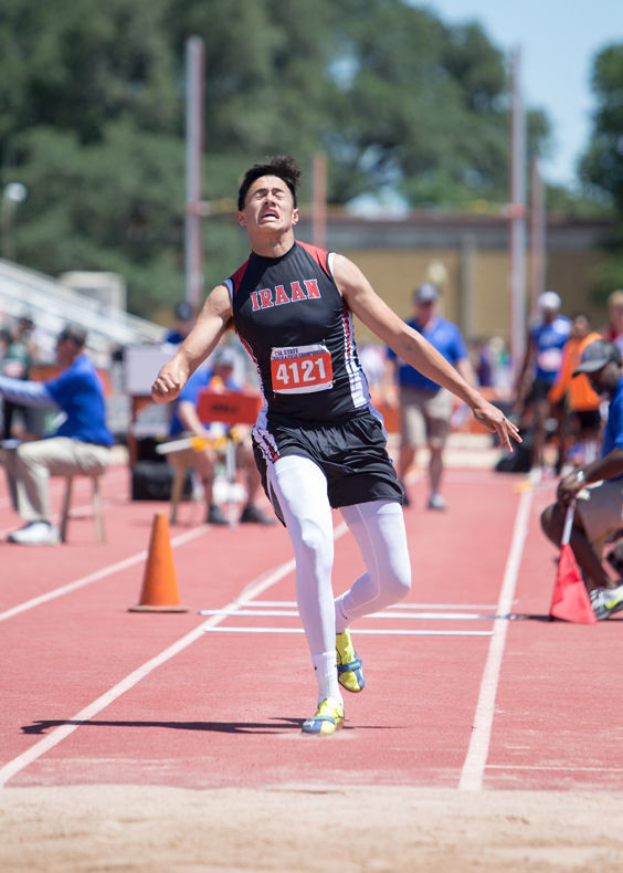 Axcel Santana of Iraan High School finished second and earned a silver medal in the Class 2A boys triple jump event, with a jump of 45 feet, 10.5 inches, at the UIL State Track and Field Meet at Mike A. Myers Stadium in Austin, Texas, on Friday, May 12, 2017.