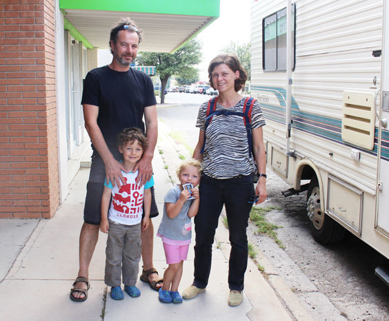 Husband Ijsbrand De Boer and his wife Floortje Kootte treated their children Jan and Lies to a stroll around Fort Stockton, enroute from Balmorhea State Park to the Guadalupe National Park in their camper Evana.