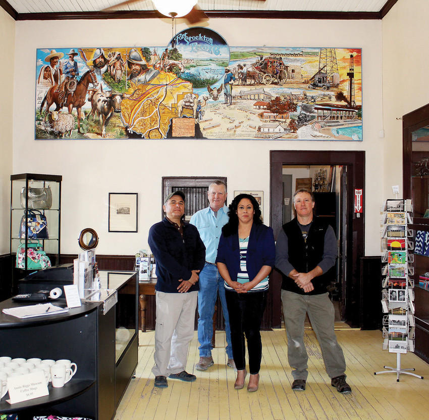 Filmmaker M. Aku Rodriguez, contractor Tom Ingram of T. Ingram Co., Museum Director Melba Montoya and Johnny Roberston of Roberston Museum Projects stand united at the center of the Annie Riggs Memorial Museum as its highly anticipated renovation moves forward.
