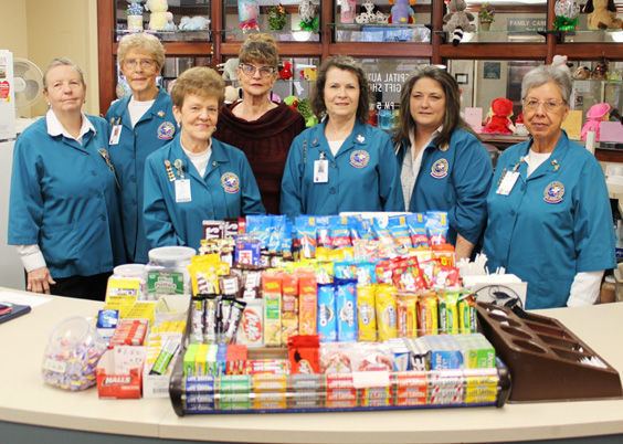 Dorthea Huelster, Leona Tucker, Linda Lamb, Gerda Martinez, Ludene Reeves, Connie Parks and Christina Flores are seven of 28 volunteers who are happy to assist you at the PCMH Auxiliary gift shop.