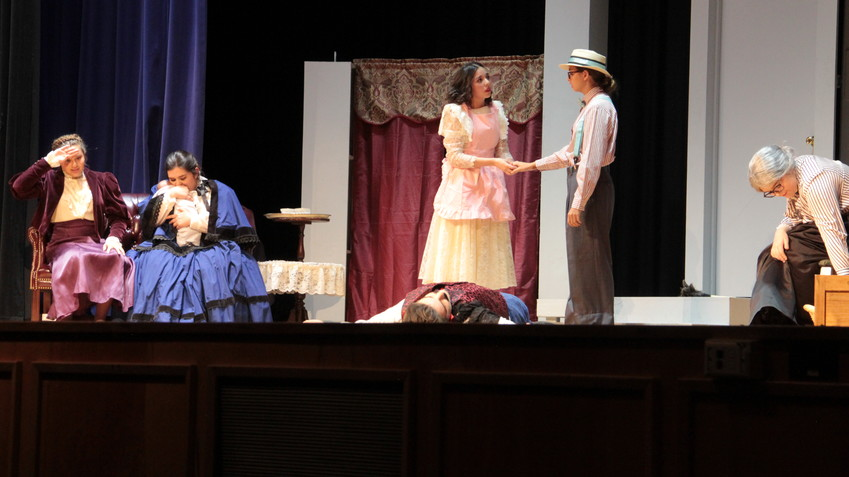 "The Fort Stockton High School Theatre Arts Department delighted the audience Thursday night with their hometown showing of ""Foiled by an Innocent Maid,"" a competition piece for the upcoming UIL One-Act Play contest — which competed Friday in Seminole — but came up short of advancing, said Director Emily Olson, who called it a ""tough district."" However, the show was well-received and a great time was had by all, she said. Cast members Emily Gonzalez was named to the Honorable Mention All-Star Cast and Qiara Alvarez was named to the All-Star Cast. Appearing were Valerie Olson as Letitia Carruthers, Emily Gonzalez as Rachel Follansbee, Audrey Gonzalez as Maude Filbert, Qiara Alvarez as Faith Hopewell, Devon Anderson as Ferguson Longfellow, and Mallorie Crenshaw as Jimmy. Off stage were stage manager Mikayla Alvarez, Angelina Herrera and Reyna Gonzalez as light and sound managers, and Johnessa Evans and Sara Jo Duarte serving as the backstage crew."