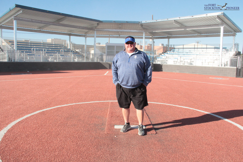FSISD Athletic Director Mike Peters pauses in the pitchers circle on the newly renovated softball field behind the high school while chatting about the project. With construction nearly complete on that field — as well as the adjacent baseball field — coach says that the facilities will be the finest in West Texas.