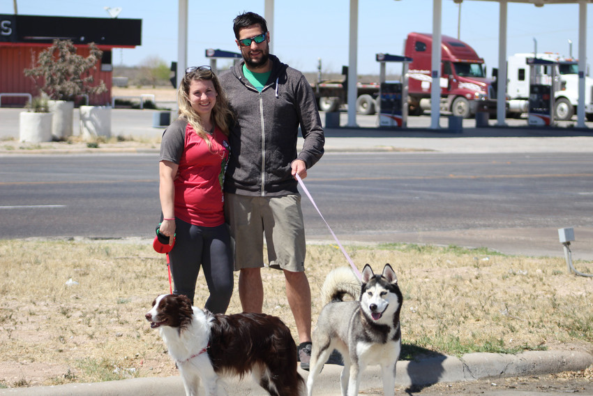 The Vranich couple and their dogs Lily and Arya made a quick stop here in Fort Stockton while en route to their new home in California.