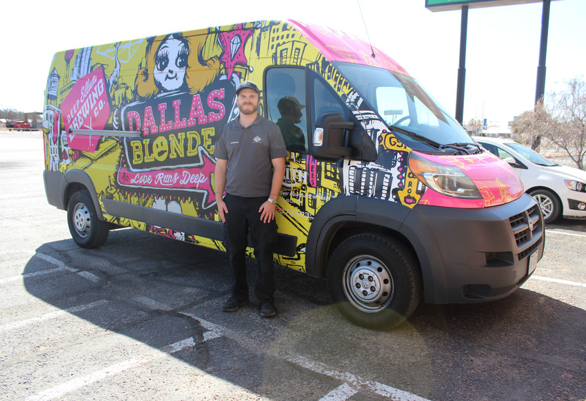 Cutline: Jason Riley of the Ben E. Keith Co. has made many beer deliveries here in Fort Stockton. You might spot his bright yellow and pink Deep Ellum Brewing Co. van parked outside of Apache Liquors, which is his most frequent stop in town.