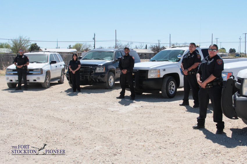 Officers with the Fort Stockton Police Department stand by their patrol vehicles, which are scheduled to be replaced under a new agreement authorized by city council. Officials have entered into a five-year program to replace the well-worn rides with a newer, sleeker fleet of wheels.