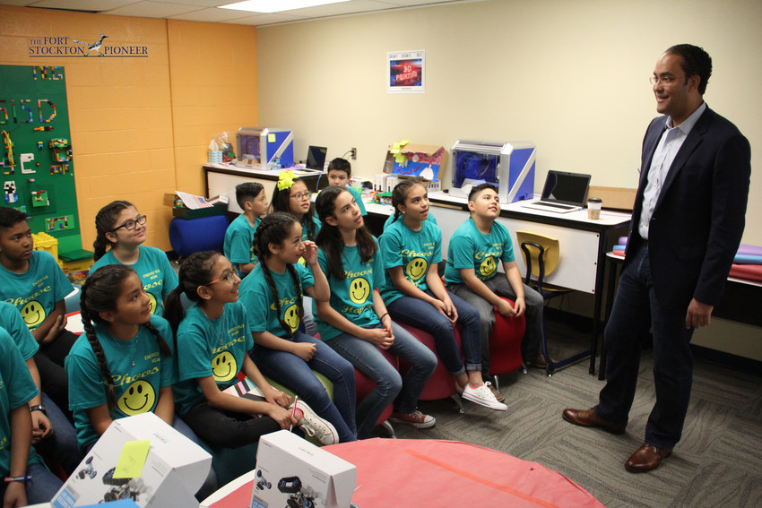 U.S. Rep Will Hurd visited with students at Fort Stockton Intermediate School Tuesday morning as part of his swing through the district. He started off chatting with Energy Bus student leaders before commanding an assembly in the cafeteria where he had students jumping and cheering to a quick name recognition game. Hurd's presentation focused on leadership, believing in oneself, and passing on a message of girl power related to some of the women he worked with while at the CIA. He also presented certificates to deserving students and a teacher. For more on his visit plus a recap of his thoughts on DC politics, visit the Pioneer's Facebook page.