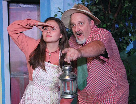 """In """"Dirty Work at the Crossroads,"""" Jordan Ward, left, plays the heroine Nellie Lovelace and Steve Fountain plays the faithful rustic Mookie Maguggins. (Pioneer Photo)"""
