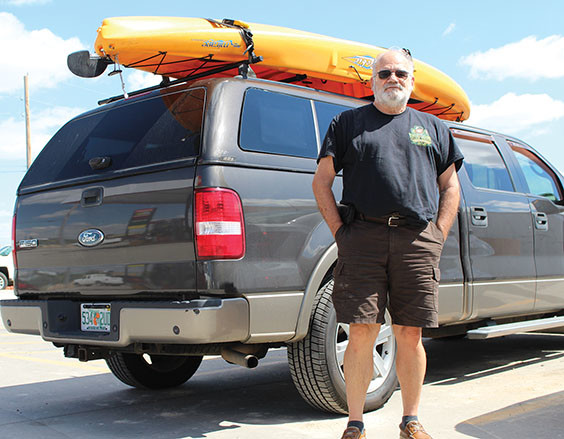 Dan Wagner of Florida has been transporting a bright yellow kayak, so he can paddle various waters across the nation. With his hands in his pockets, Wagner says he's got time to burn with some adventure.