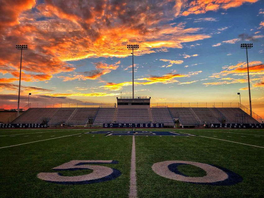 Sunset over Panthers Stadium on Saturday, Sept. 8