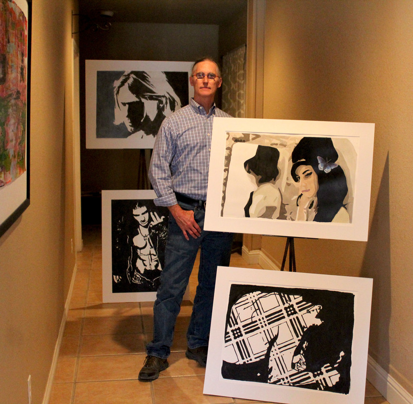 "Cutline: Artist and new resident of Fort Stockton Steven M. Walker has opened his ""chunkArts Gallery"" at 117 N. Main Street. Showcasing the works of four artists, Walker hopes to cultivate a downtown art market by selling the standing artwork to keep the gallery afloat into next year."