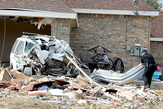 A white Ford expedition crashed into a house, 108 W 17th  near Fort Stockton High School around noon.