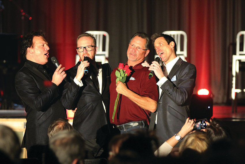 Tenors Un Limited, the 'Rat Pack of Opera,' had great audience participation n Fort Stockton Monday night, including Mayor Chris Alexander who tightly grasped the three roses given to him by the operatic trio.