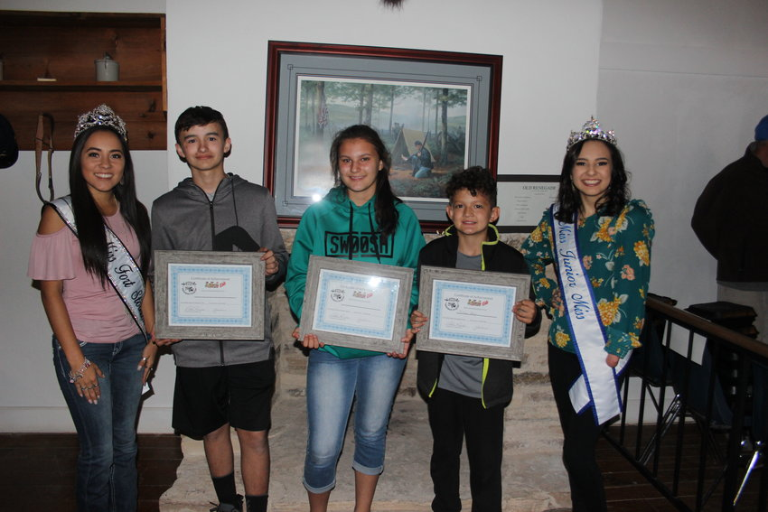 From left to right, Miss Fort Stockton Kaitlynn Pacheco; Isaiah Moreno (1st place 11-17 age group); Kayden Gray (2nd place 11-17) and Colten Gray (1st ages 4-11); Miss Junior Miss Fort Stockton Bella Sanchez.