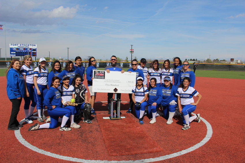 Rudy Franco of Amistad Motors in Fort Stockton presented a $500 check to the Fort Stockton High School Prowlers softball team after the team was selected as the Permian Basin Chevy Spotlight team of the week. The presentation was made before the team's March 22 game against Andrews.