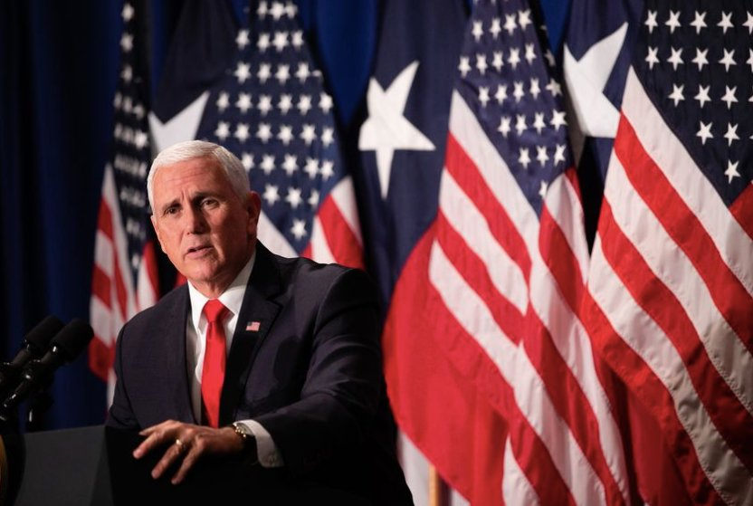 Vice President Mike Pence spoke to a crowd of supporters during a campaign event for U.S. Rep. Pete Sessions' re-election bid, at the Park Cities Hilton in Dallas Oct. 8, 2018.