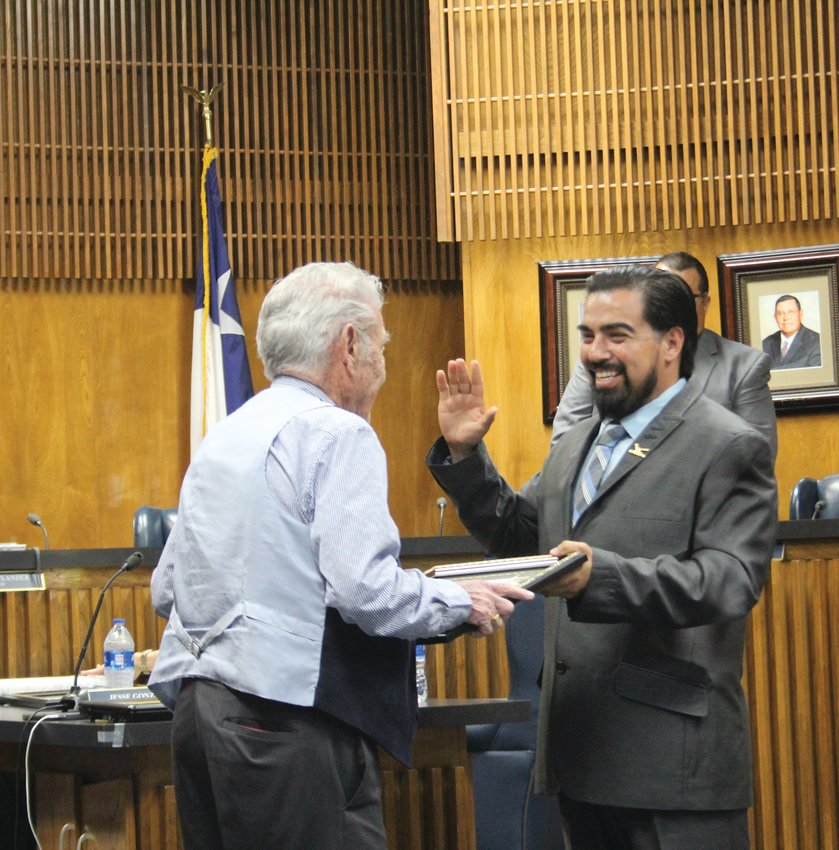 Ruben Falcon is sworn in as city council member for his fourth term.