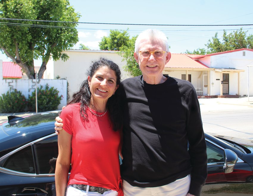 Priscilla Repton and her dad Royce Coleman on their drive through Fort Stockton
