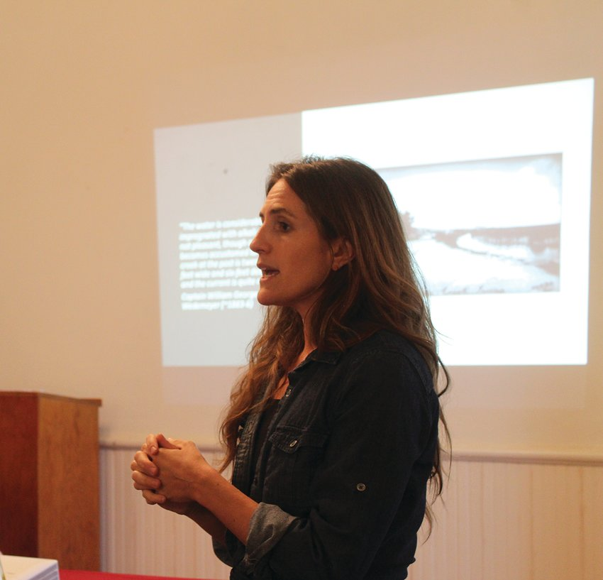Sharlene Leurig from the Texas Water Trade spoke to a crowd Monday night on water rights.